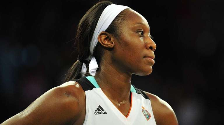 New York Liberty center Tina Charles reacts at