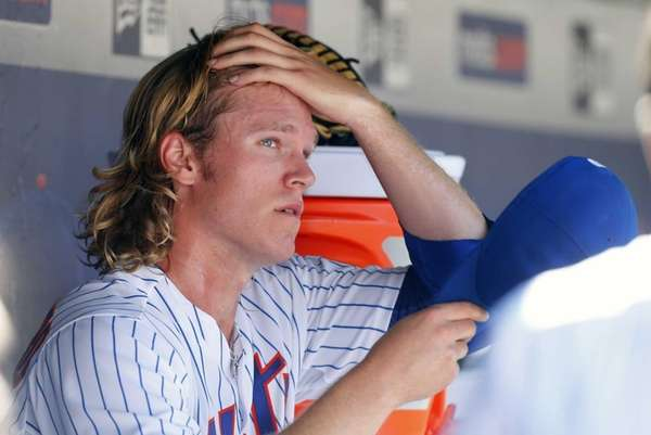 Noah Syndergaard of the New York Mets looks