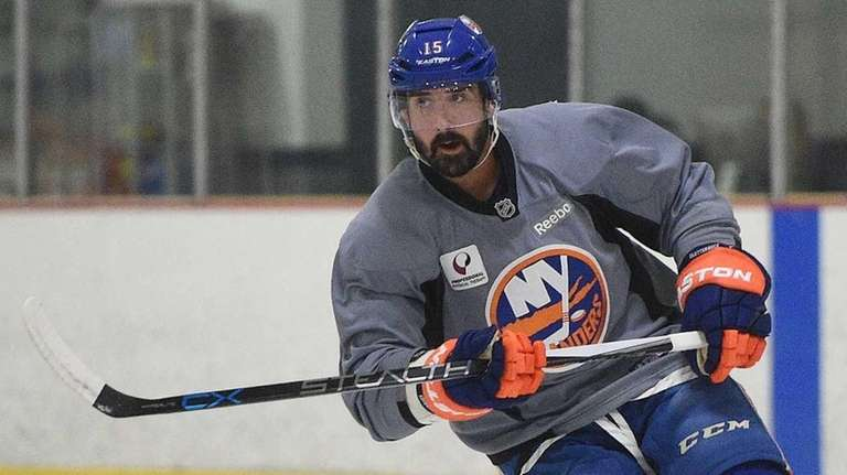 New York Islanders' Cal Clutterbuck skates at training
