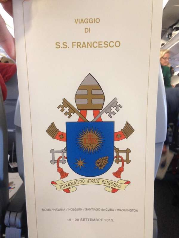 The special menu aboard the papal plane on