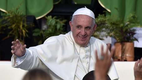 Pope Francis arrives at Revolution Square in Havana