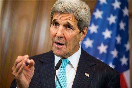 U.S. Secretary of State John Kerry gestures during