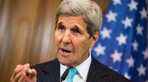 U.S. Secretary of State John Kerry gestures during