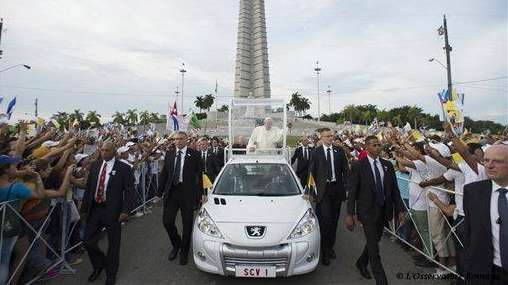 Pope Francis arrives to celebrate Mass at Revolution
