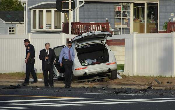 Police investigate a fatal accident on Hempstead Turnpike,