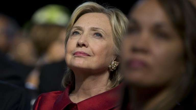 Democratic presidential candidate Hillary Rodham Clinton looks to