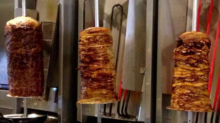 Gyros -- from left, beef-lamb, pork and chicken