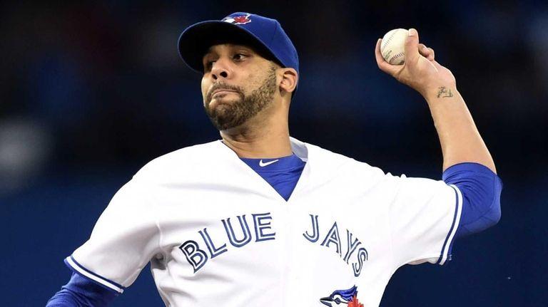 Toronto Blue Jays starting pitcher David Price works