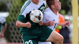 Brentwood's Rayneri Ruiz fights to keep the ball