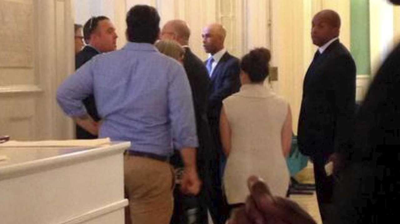 James Blake arrives at New York City Hall