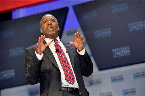Republican presidential candidate Ben Carson speaks in Greenville,