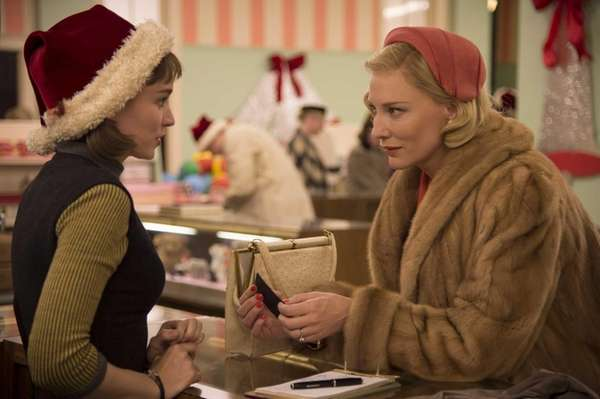 Rooney Mara, left, as Therese Belivet, and Cate