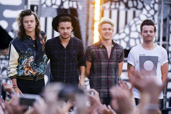 One Direction members, from left, Harry Styles, Liam