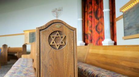 Inside a Jewish synagogue.