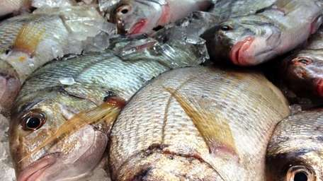 Local porgies are for sale at Southold Fish