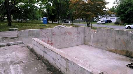 The foundation where a vacant home once sat