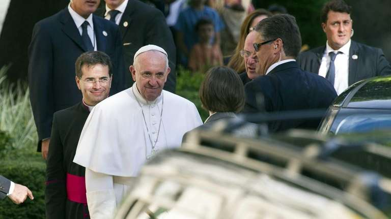 Pope Francis arrives at the Apostolic Nunciature, the