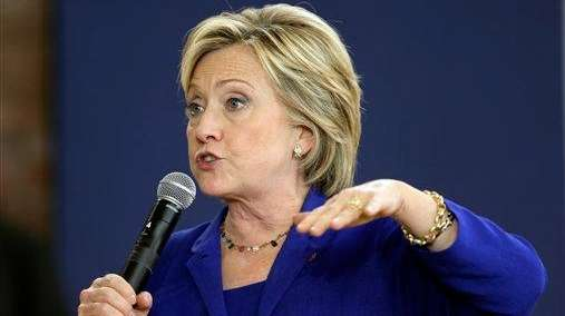 Democratic presidential candidate Hillary Rodham Clinton speaks during