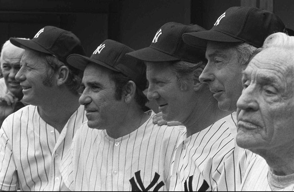 From left, Mickey Mantle, Yogi Berra Whitey Ford,