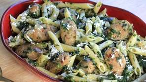 Penne and chopped spinach cook together in one
