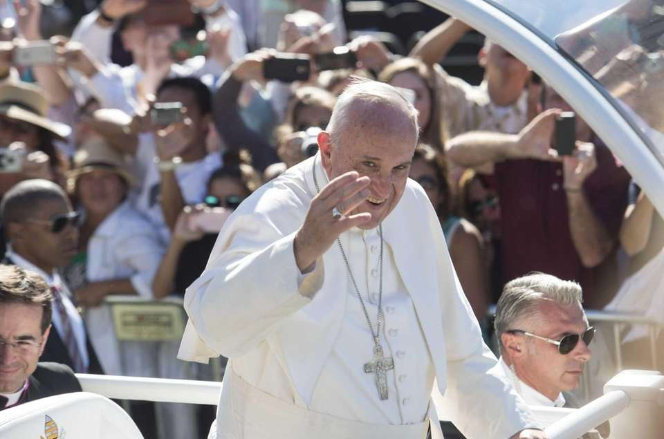 Pope Francis arrives at the Basilica of the