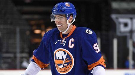 New York Islanders center John Tavares looks on