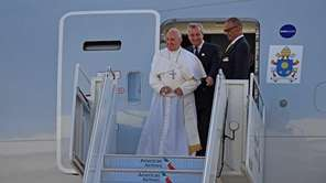 Pope Francis arrives at Kennedy Airport in Queens