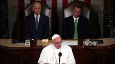 Pope Francis addresses a joint meeting of the