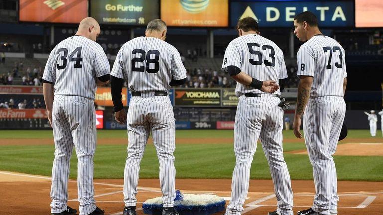 New York Yankees catcher Brian McCann, manager Joe