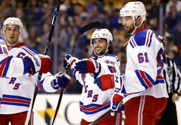 The New York Rangers' Mats Zuccarello celebrates his