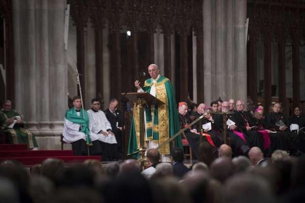 Pope Francis delivers his speech as he leads
