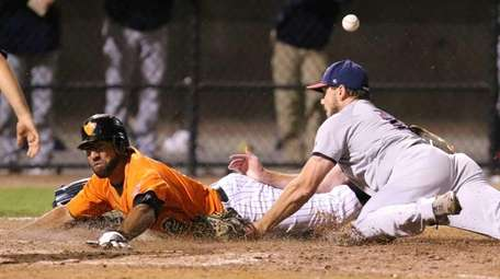 The Long Island Ducks' Fehlandt Lentini scores on
