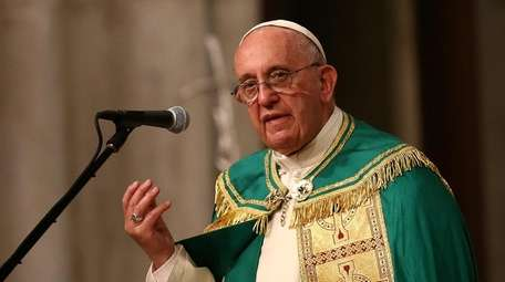 Pope Francis leads a service at St Patrick's