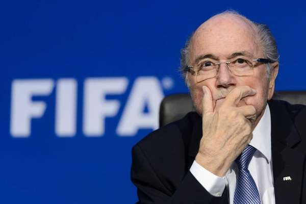 FIFA president Sepp Blatter gesturing during a press