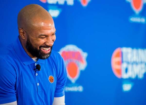 New York Knicks head coach Derek Fisher speaks