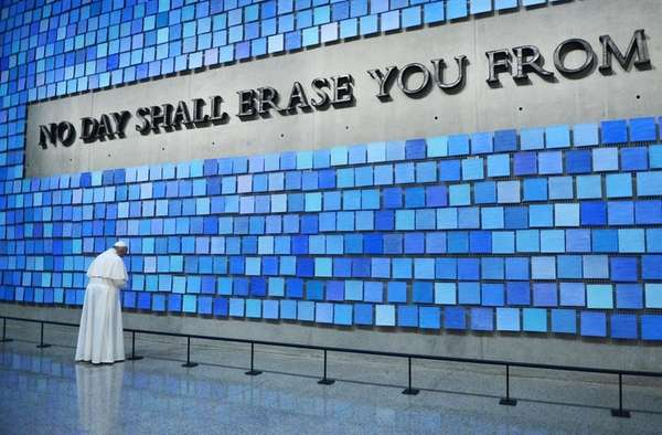 Pope Francis visits the National September 11 Memorial