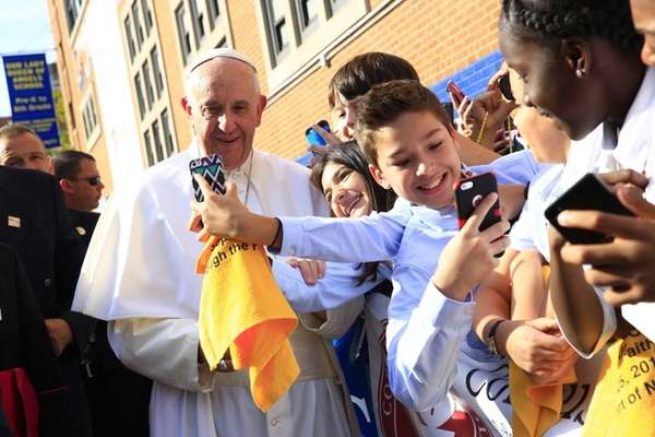 Pope Francis stops for a selfie at Our