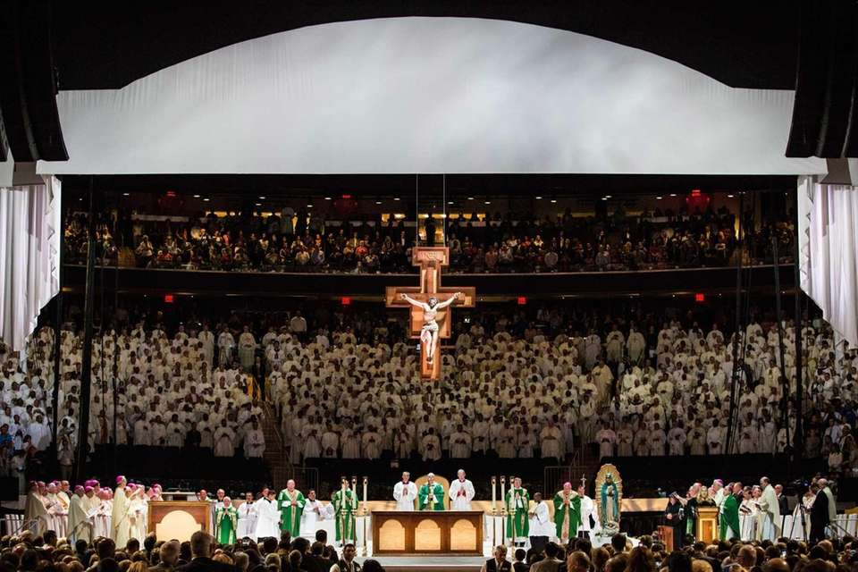 Pope Francis leads a Mass at Madison Square