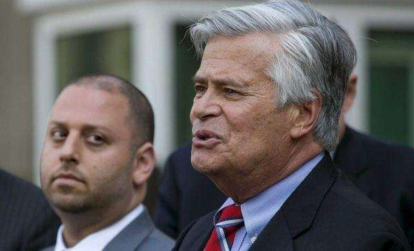 Adam Skelos, left, and Sen. Dean Skelos, right,