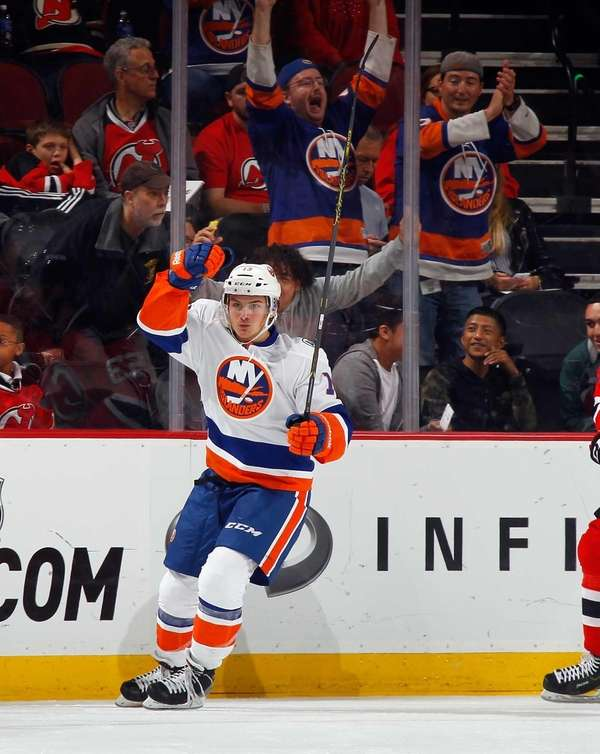 Mathew Barzal of the New York Islanders celebrates