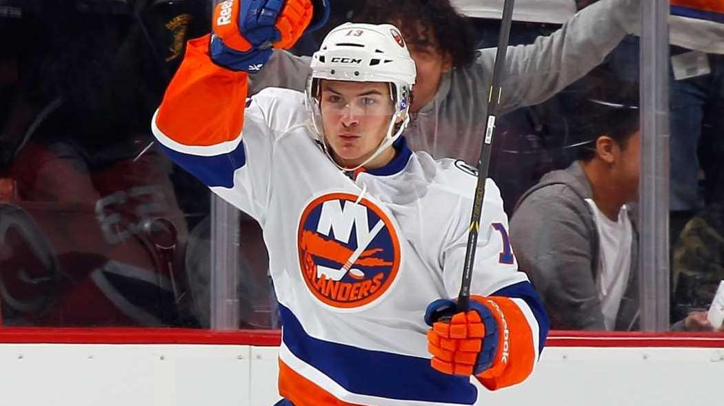 Mathew Barzal of the New York Islanders celebrates