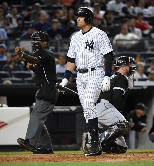 New York Yankees designated hitter Alex Rodriguez walks