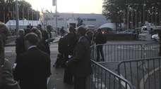 The Vatican press corps waiting to enter the