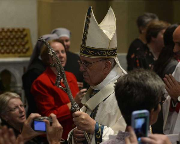 Pope Francis walks during the procession before the