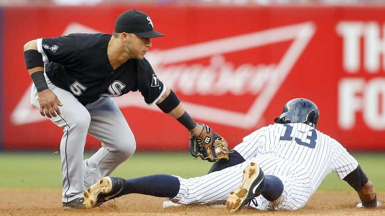 Alex Rodriguez of the New York Yankees steals