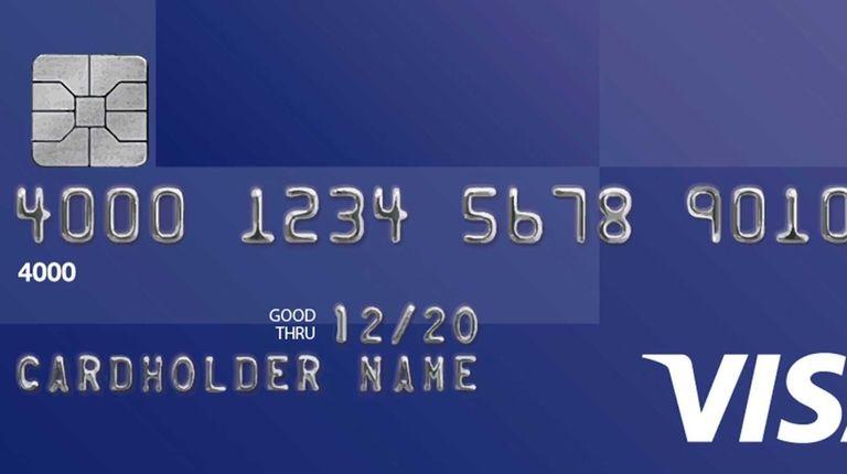 A sample Visa card is shown.