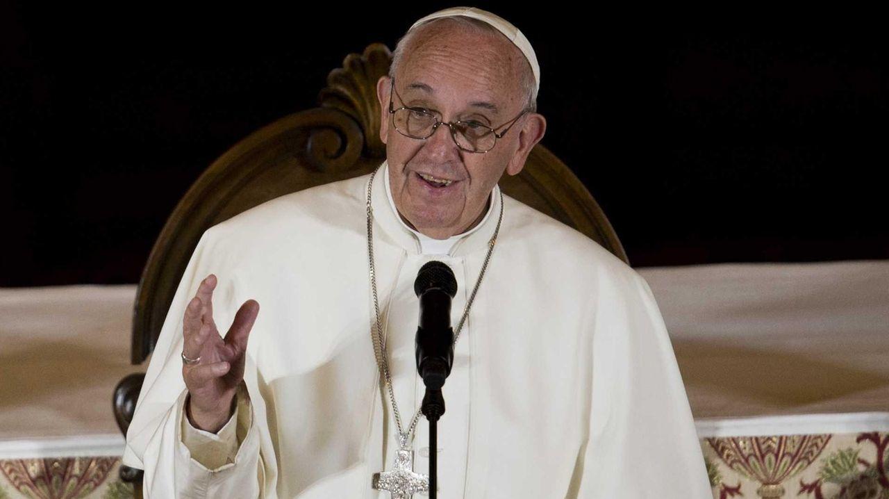 Pope Francis speaks to Bishops at St. Charles