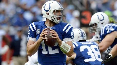 Indianapolis Colts quarterback Andrew Luck (12) passes against