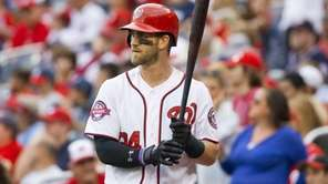 Washington Nationals' Bryce Harper steps up to the