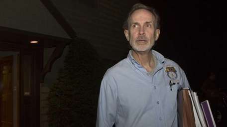 Timothy Lynch, Teamsters Local 1205 president, leaves after